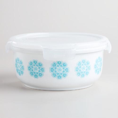 Large Aqua Floral Ceramic Bowl