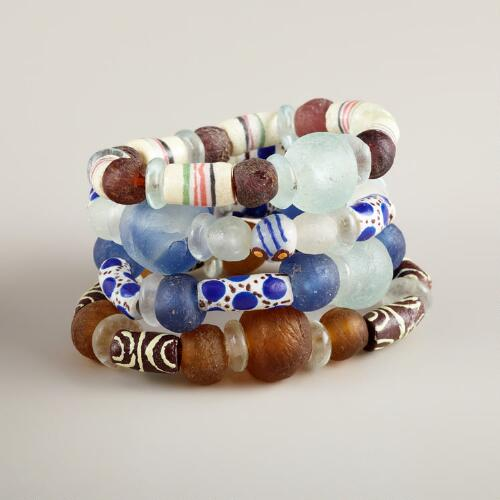 Assorted African Trade Bead Bracelets, Set of 4