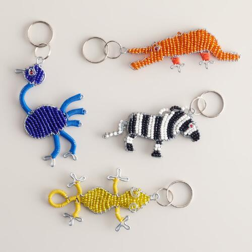 Beaded Animal Keychains, Set of 4