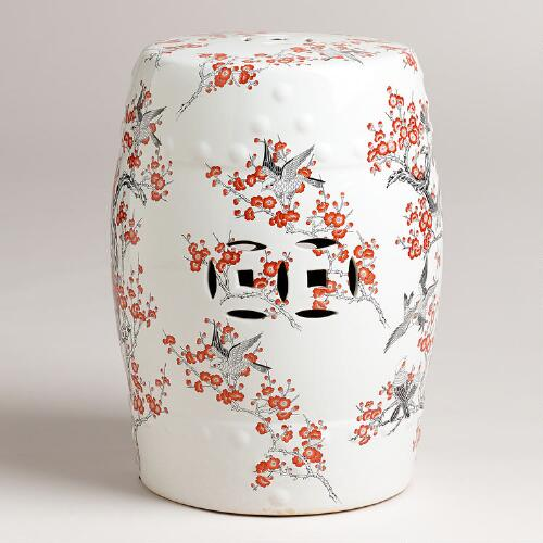 Birds Ceramic Lotus Stool