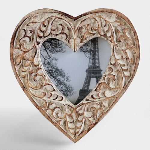Whitewashed Helena Heart Frame