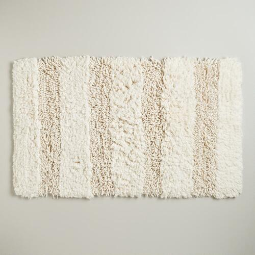 Ivory Hi-Low Shag Bath Mat