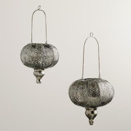 Silver Lace Lantern Candleholder