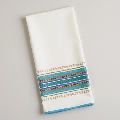 Cool-Toned Woven Stripe Kitchen Towel
