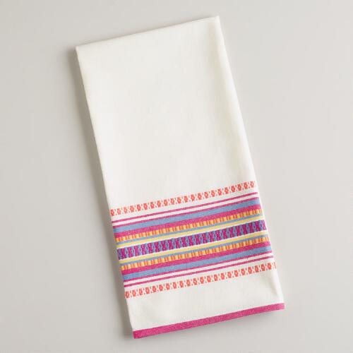 Warm-Toned Woven Stripe Kitchen Towel
