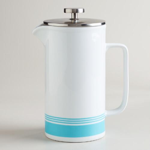 Aqua Striped Ceramic Coffee Press