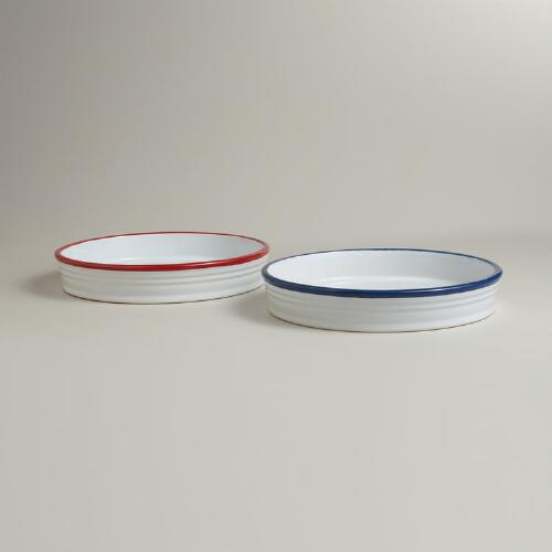 "Ceramic ""Enamel"" Pie Dishes, Set of 2"