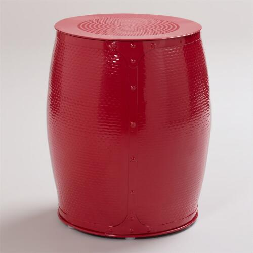 Red Lucas Wrapped Stool