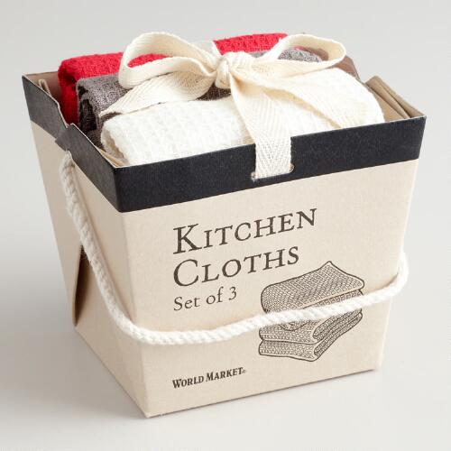 Red, Gray and White Take-Out Box Dishcloths