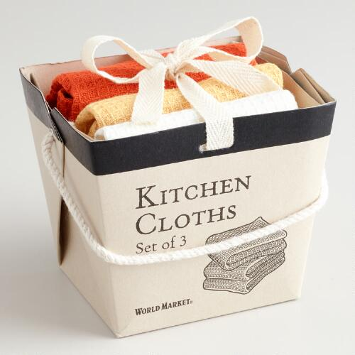 Orange, Yellow and White Take-Out Box Dishcloths