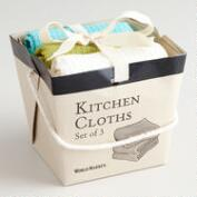 Green, Aqua and White Take-Out Box Dishcloths