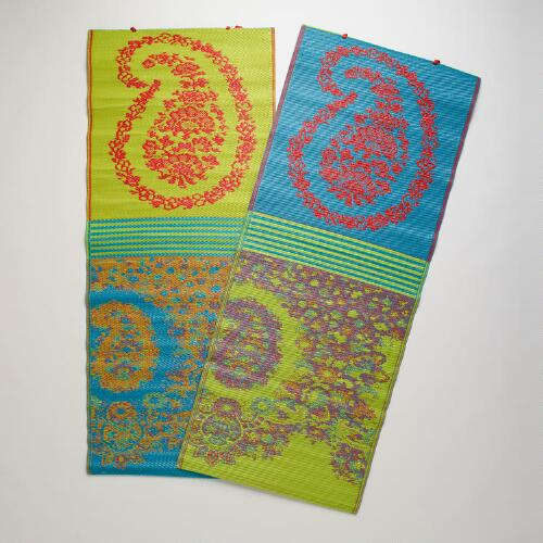 "30""x72"" Caribe Paisley Rio Beach Mats, Set of 2"