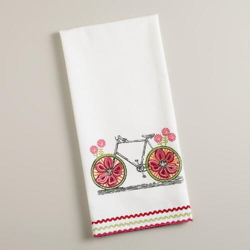 Green Flower Power Bike Tea Towel