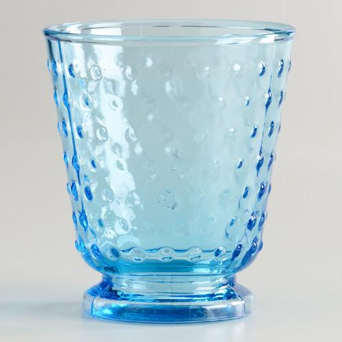 Aqua Hobnail Double Old Fashioned Glasses, Set of 4