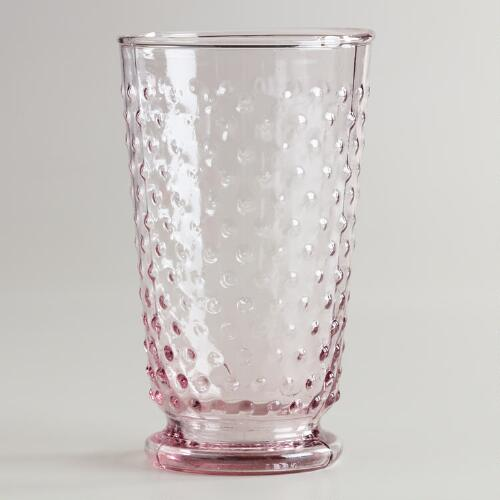 Plum Hobnail Highball Glasses, Set of 4