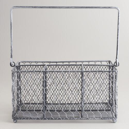 Silver Wire Flatware Caddy