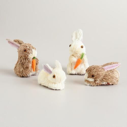 Mini Natural Fiber Bunnies, Set of 12