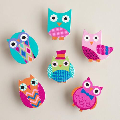 Owl Wood Clips, Set of 6