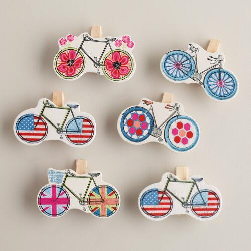 Bicycle Wood Clips, Set of 6