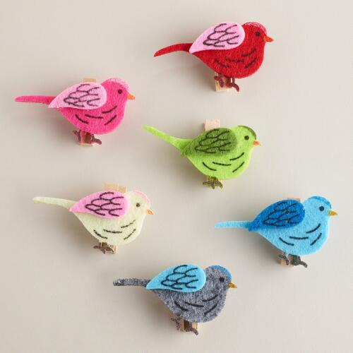 Felt Bird Clips, Set of 6