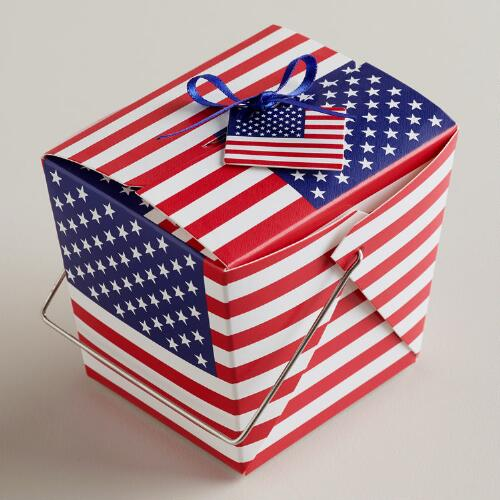 Mini American Flag Takeout Boxes, Set of 12