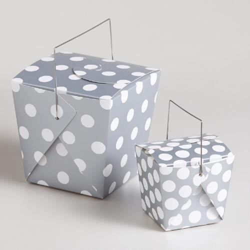 Silver Dot Takeout Boxes, Set of 4