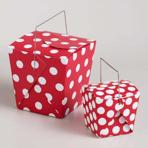 Red Dot Takeout Boxes, Set of 4