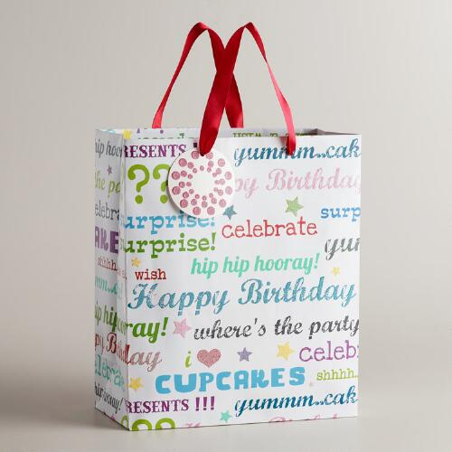 Large Birthday Script Gift Bag