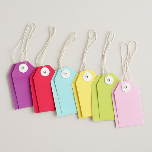 Solid Birthday Gift Tags, Set of 12