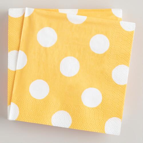 Yellow Dot Beverage Napkins, 16-Count