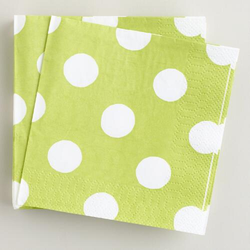 Green Dot Beverage Napkins, 16-Count