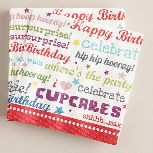 Birthday Script Beverage Napkins, 16-Count