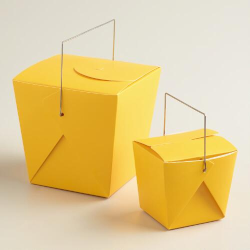 Yellow Takeout Boxes, Set of 4