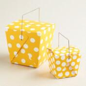 Yellow Dot Takeout Boxes, Set of 4