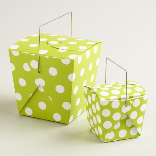 Apple Green Dot Takeout Boxes, Set of 4