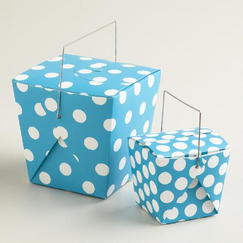 Blue Moon Dot Takeout Boxes, Set of 4