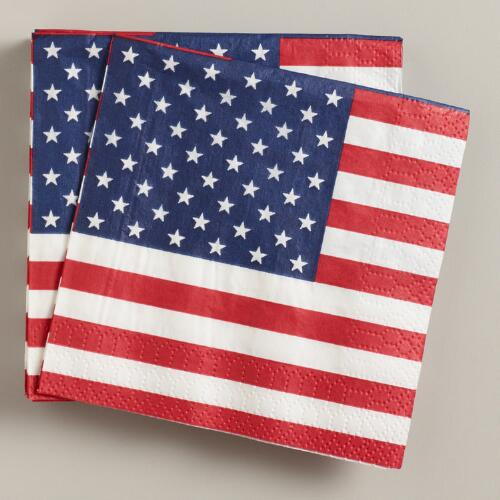American Flag Beverage Napkins, 16-Count