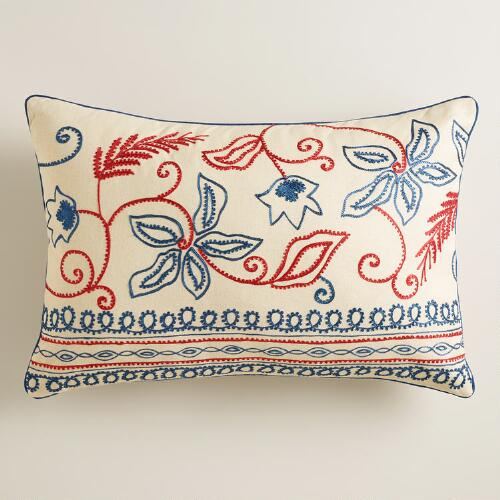 Aari Embroidered Lumbar Pillow