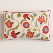 Red Suzani Embroidered Lumbar Pillow