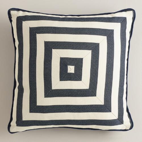 Navy Stripe Throw Pillow