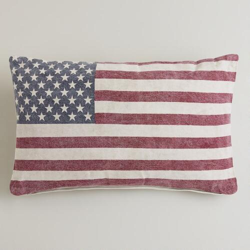 American Flag Recycled Tarp Lumbar Pillow