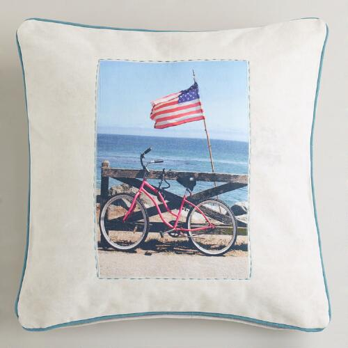 Pink Bicycle Recycled Tarp Throw Pillow