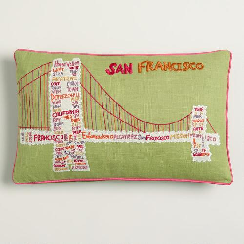 Vintage Golden Gate Bridge Embroidered Lumbar Pillow