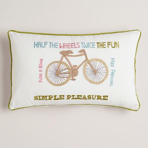 Vintage Bike Embroidered Lumbar Pillow