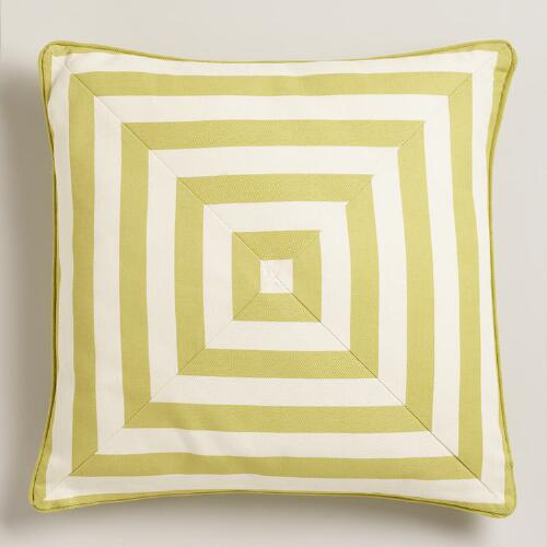 Oasis Green Stripe Throw Pillow