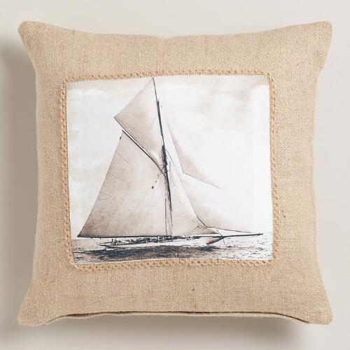 Vintage Sailboat Photo Throw Pillow
