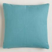 Arctic Blue Herringbone Cotton Throw Pillow