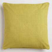 Oasis Green Cotton Herringbone Throw Pillow