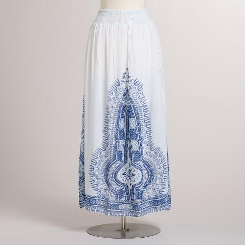 Blue and White Medallion Zahra Maxi Skirt
