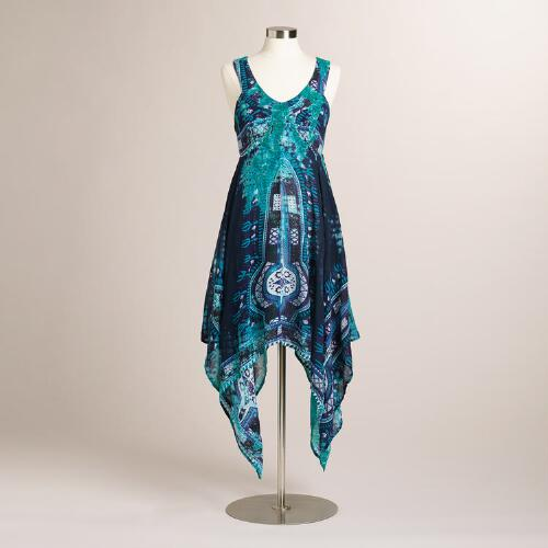 Blue Tie-Dyed Asymmetrical Dress